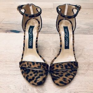 Sergio Rossi Shoes - Sergio Rossi leopard calf hair ankle strap sandals